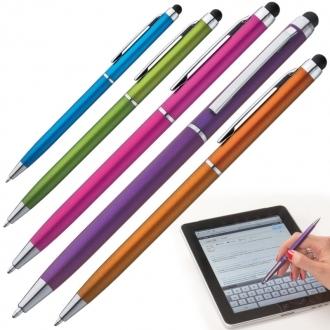 Długopis plastikowy z mechanizmem obrotowym z gumką do smartfonów